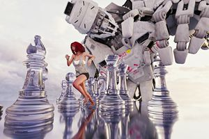 Woman running between giant chess pieces from a robot