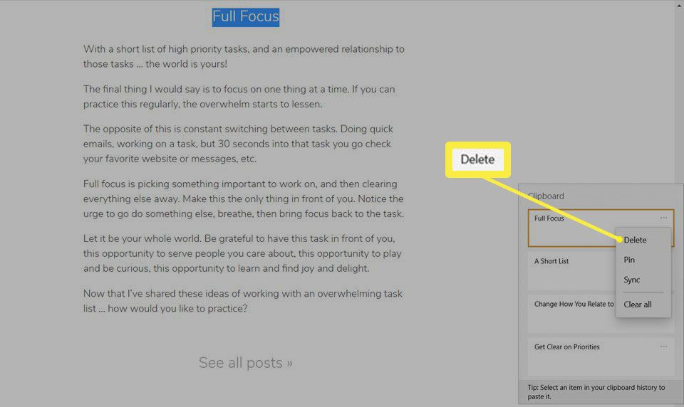 Delete copied item from Windows Clipboard.