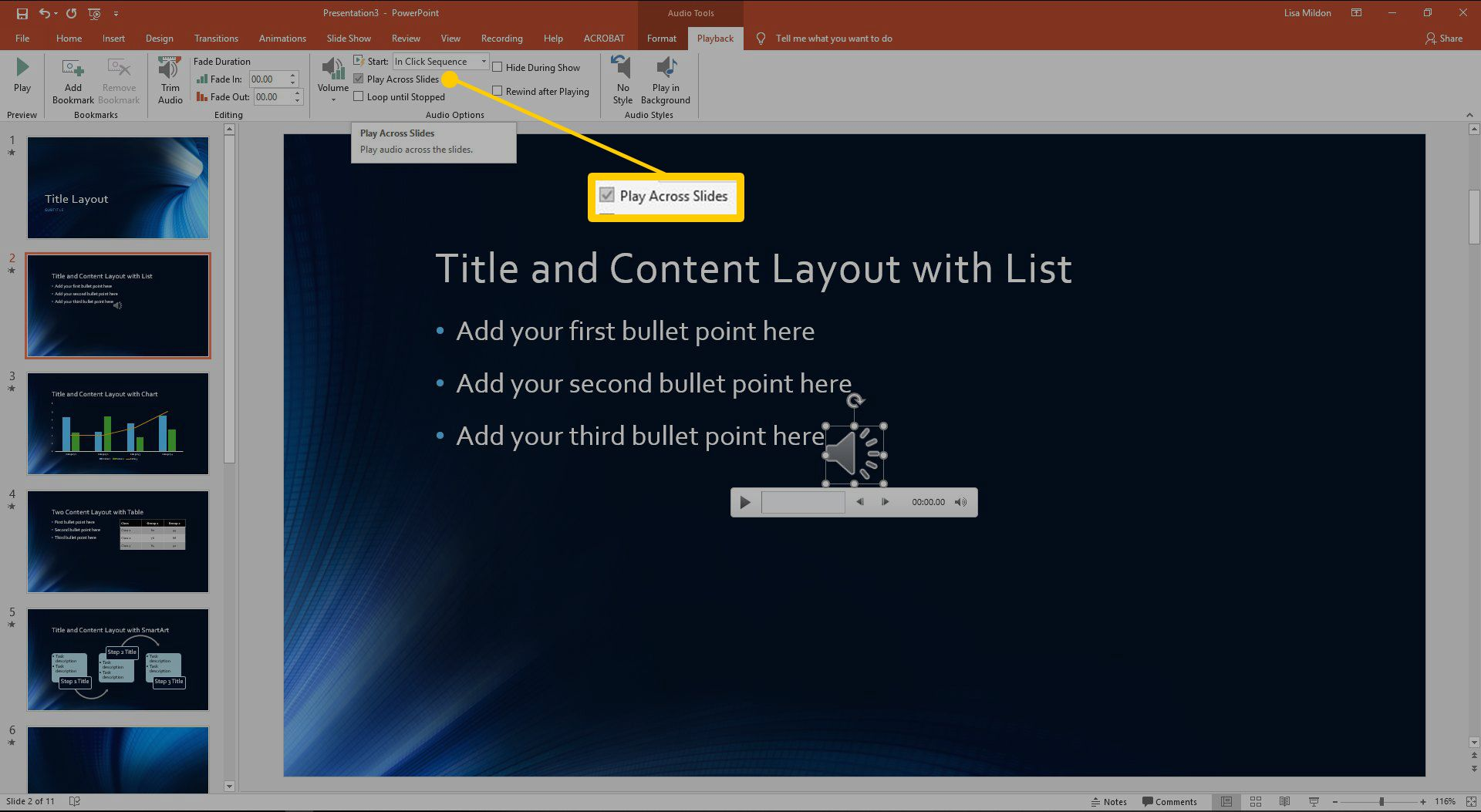 The audio options dialog box in PowerPoint