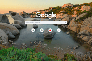 Google Chrome new tab page with a background image of a rocky shoreline at sunset.