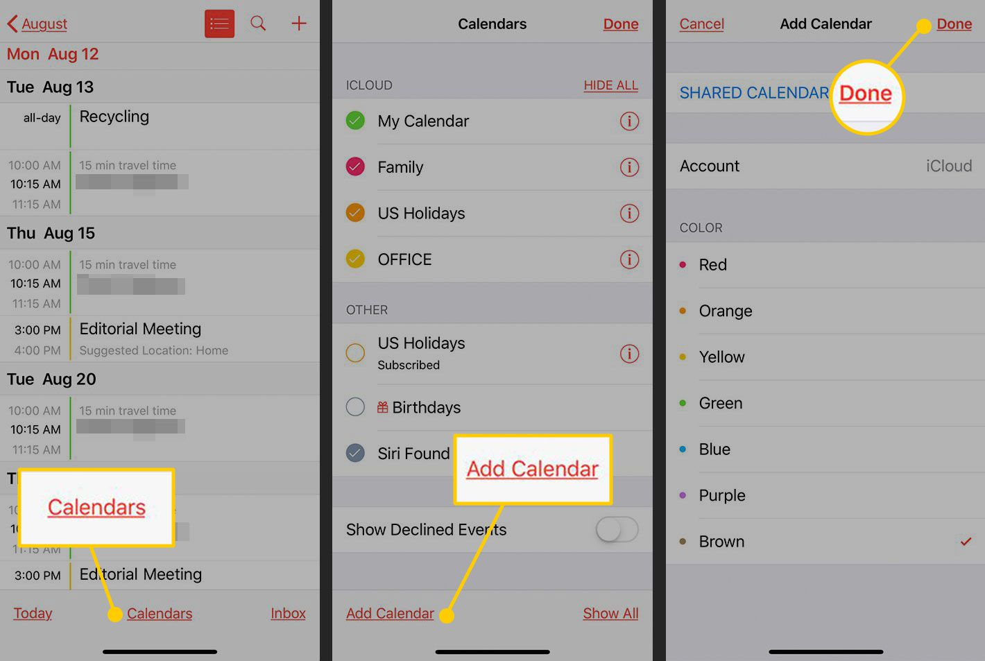 Adding a Calendar in iOS' Calendar app