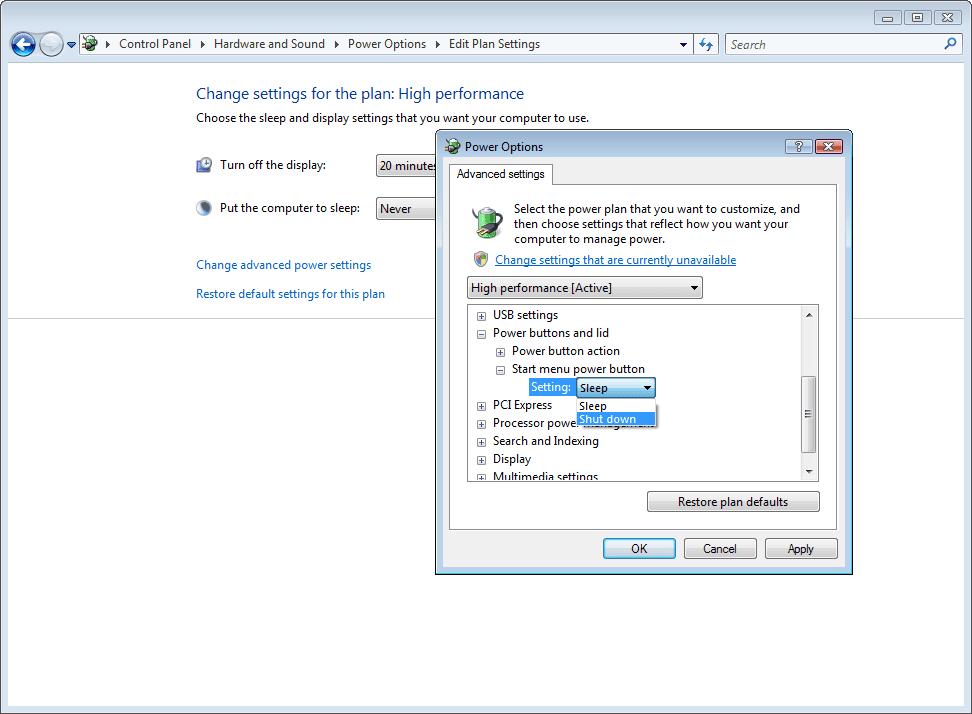Shut down highlighted as start menu power button option
