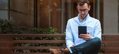 Man reading an e-reader.
