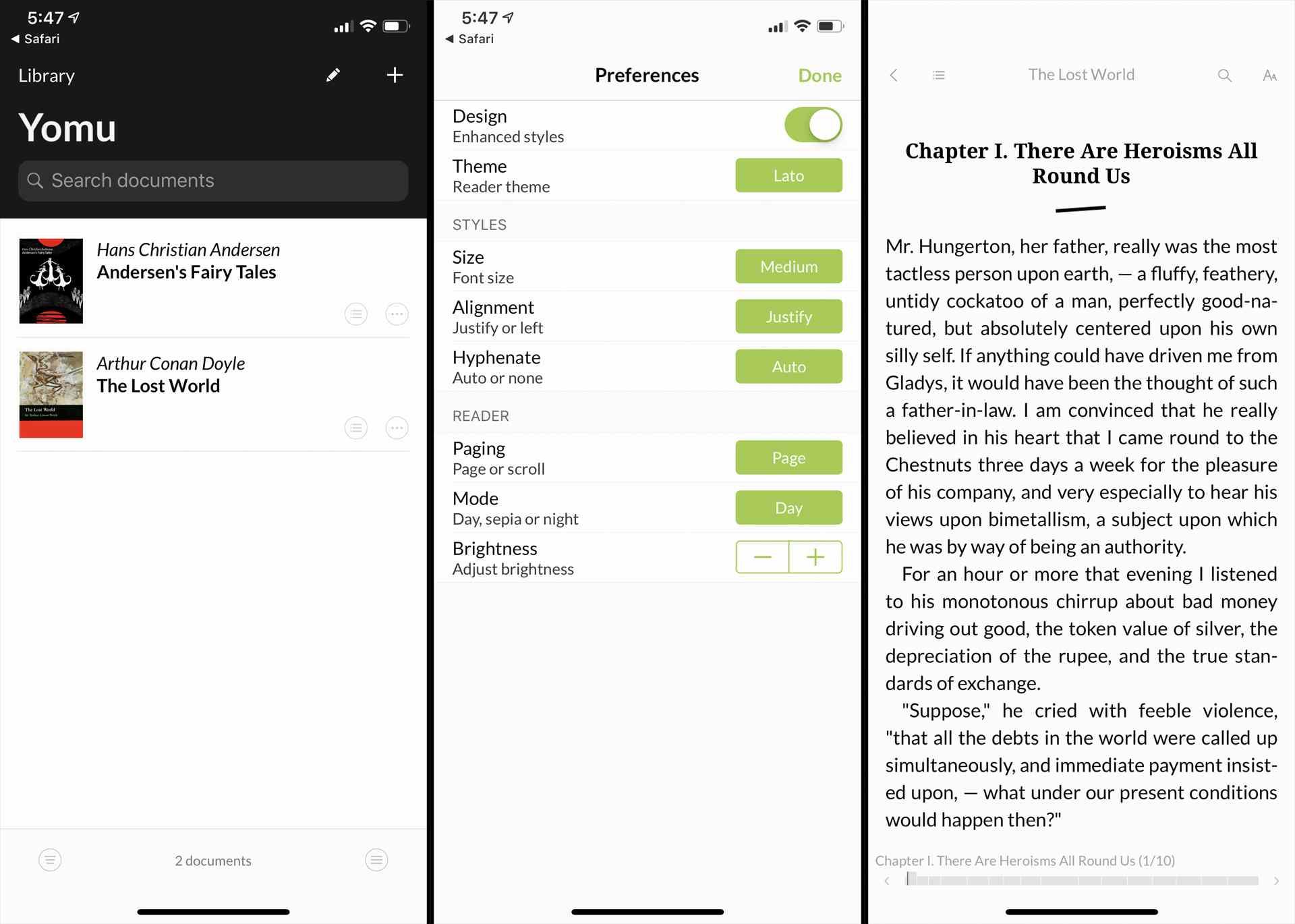 Yomu EBook Reader app on iPhone.