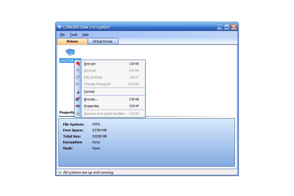 Comodo Disk Encryption drives screen