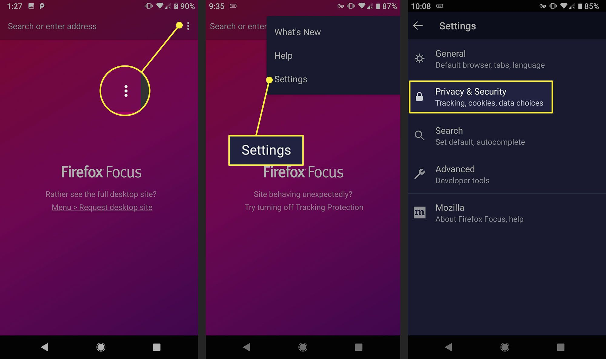 Privacy and Security in settings