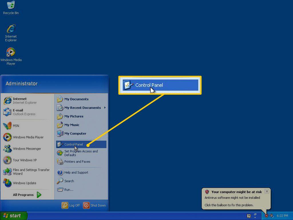 Control Panel in Windows XP Start menu