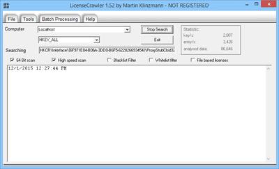 LicenseCrawler v1.52 in Windows 8