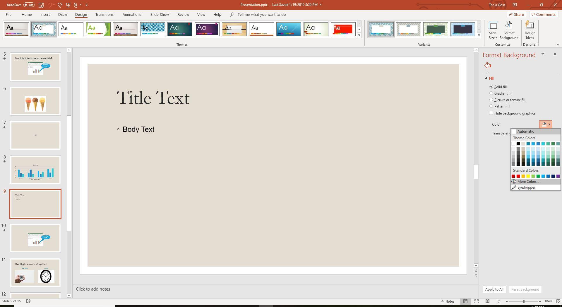 Format Background menu in PowerPoint