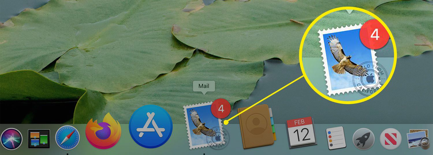 Mail icon on the Mac Dock