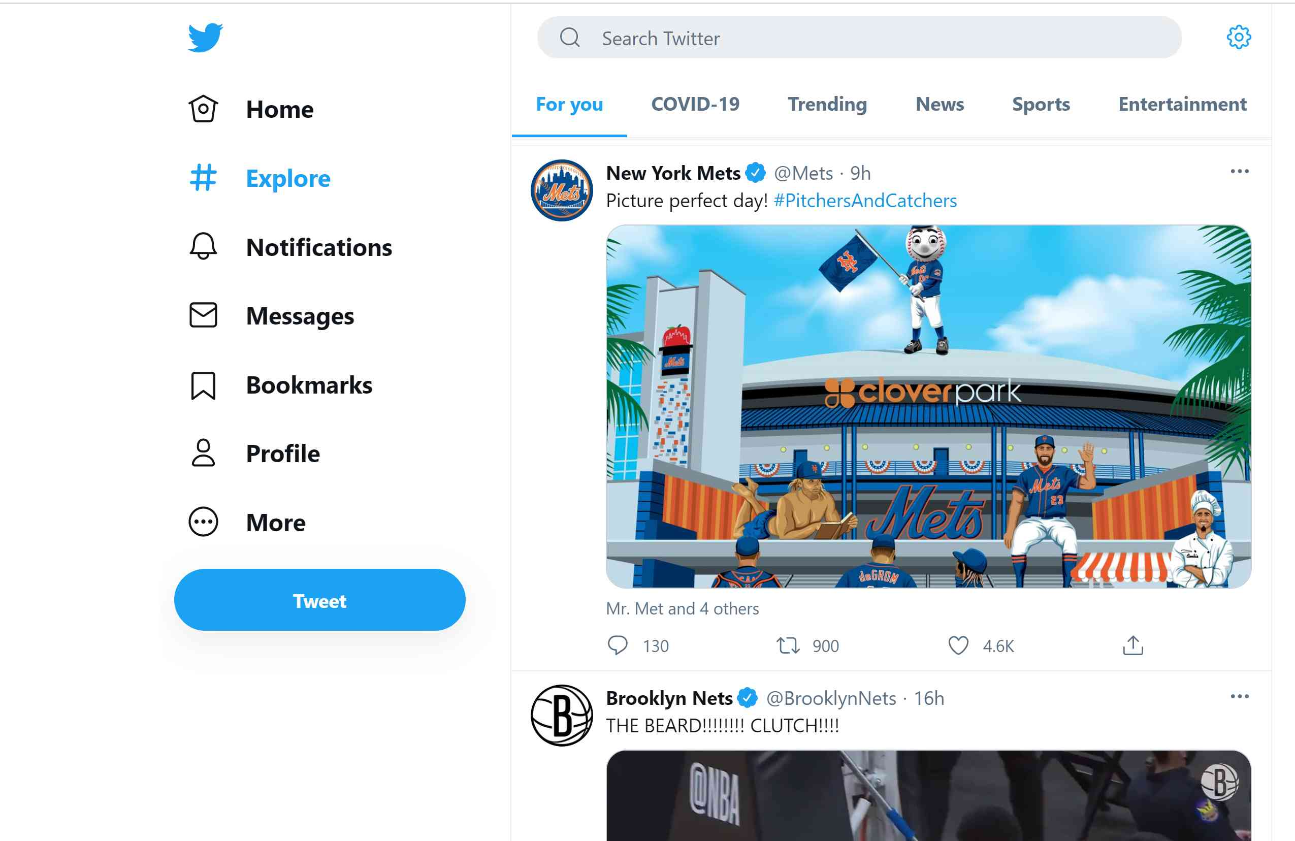 Twitter's Explore page.
