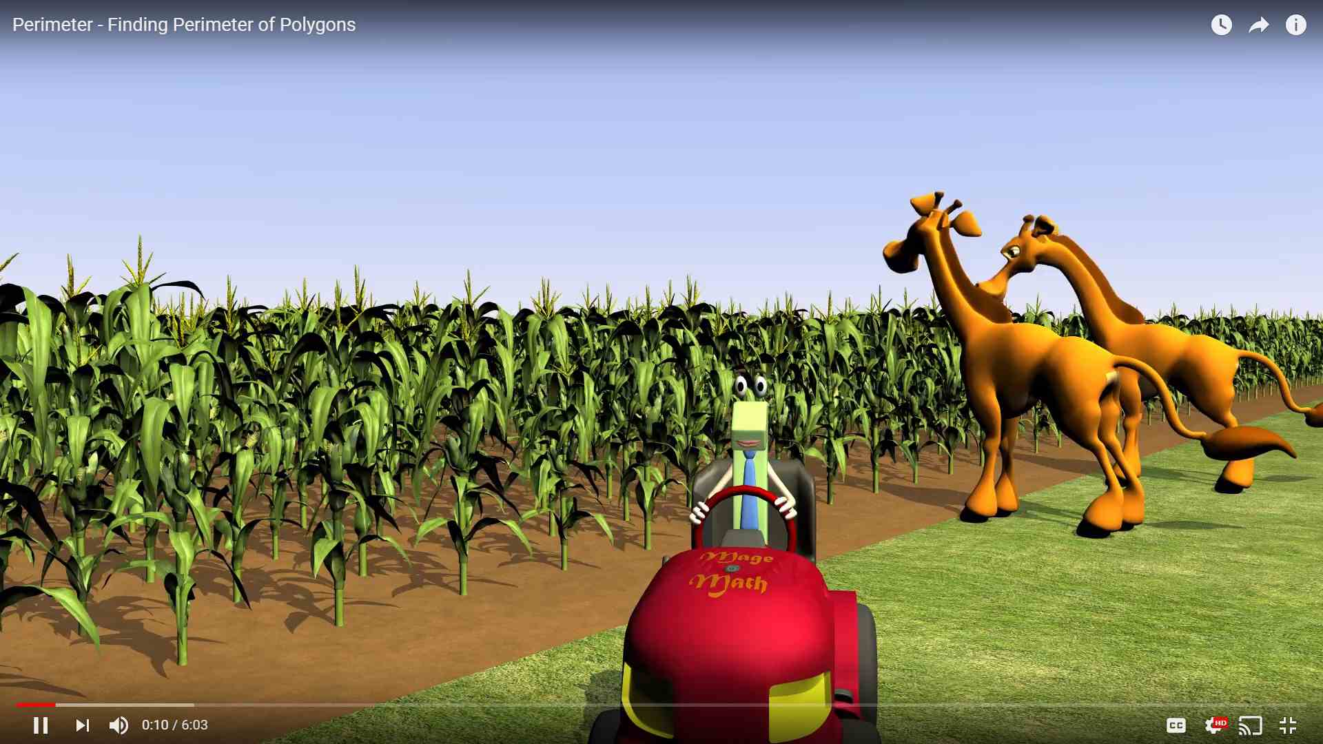 Two giraffes looking into a corn field behind a lizard driving a vehicle