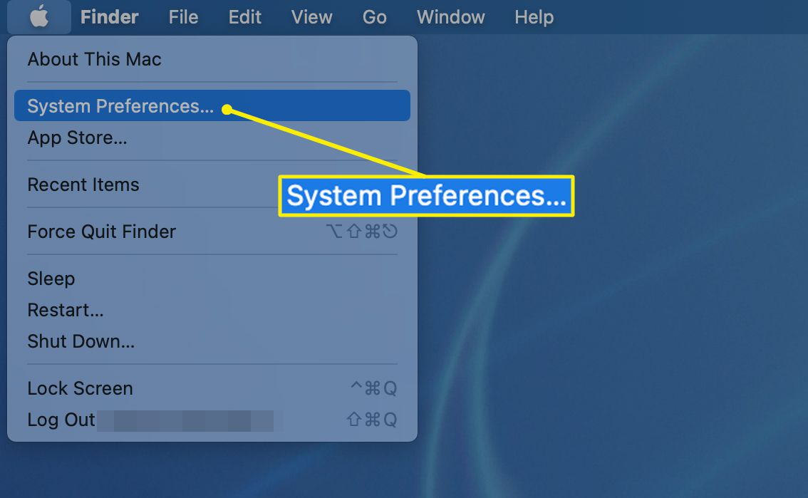 System Preferences highlighted in the Apple menu