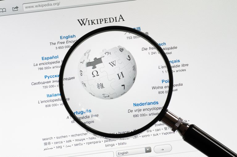 An image of the Wikipedia home page on a computer screen.