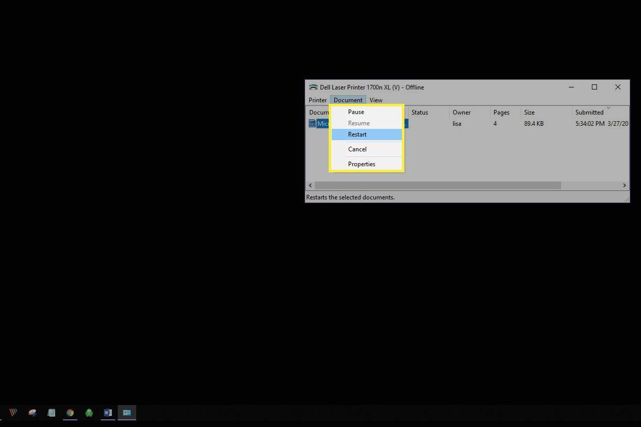 Document options menu in the printer queue