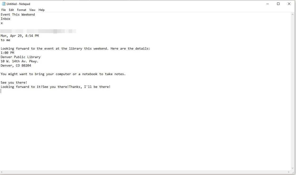 Notepad with email text pasted in