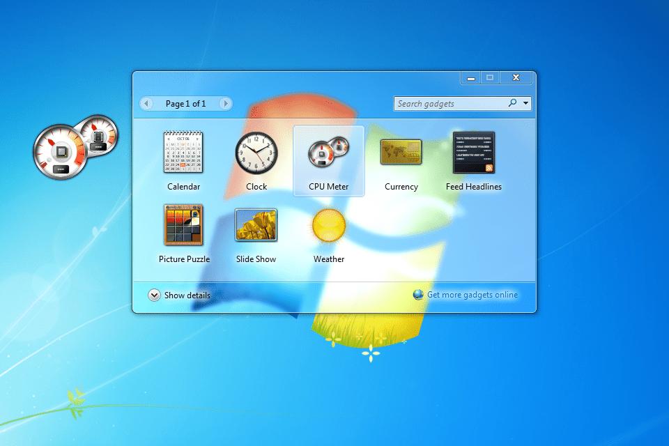 Screenshot showing how to get the CPU Meter gadget in Windows 7