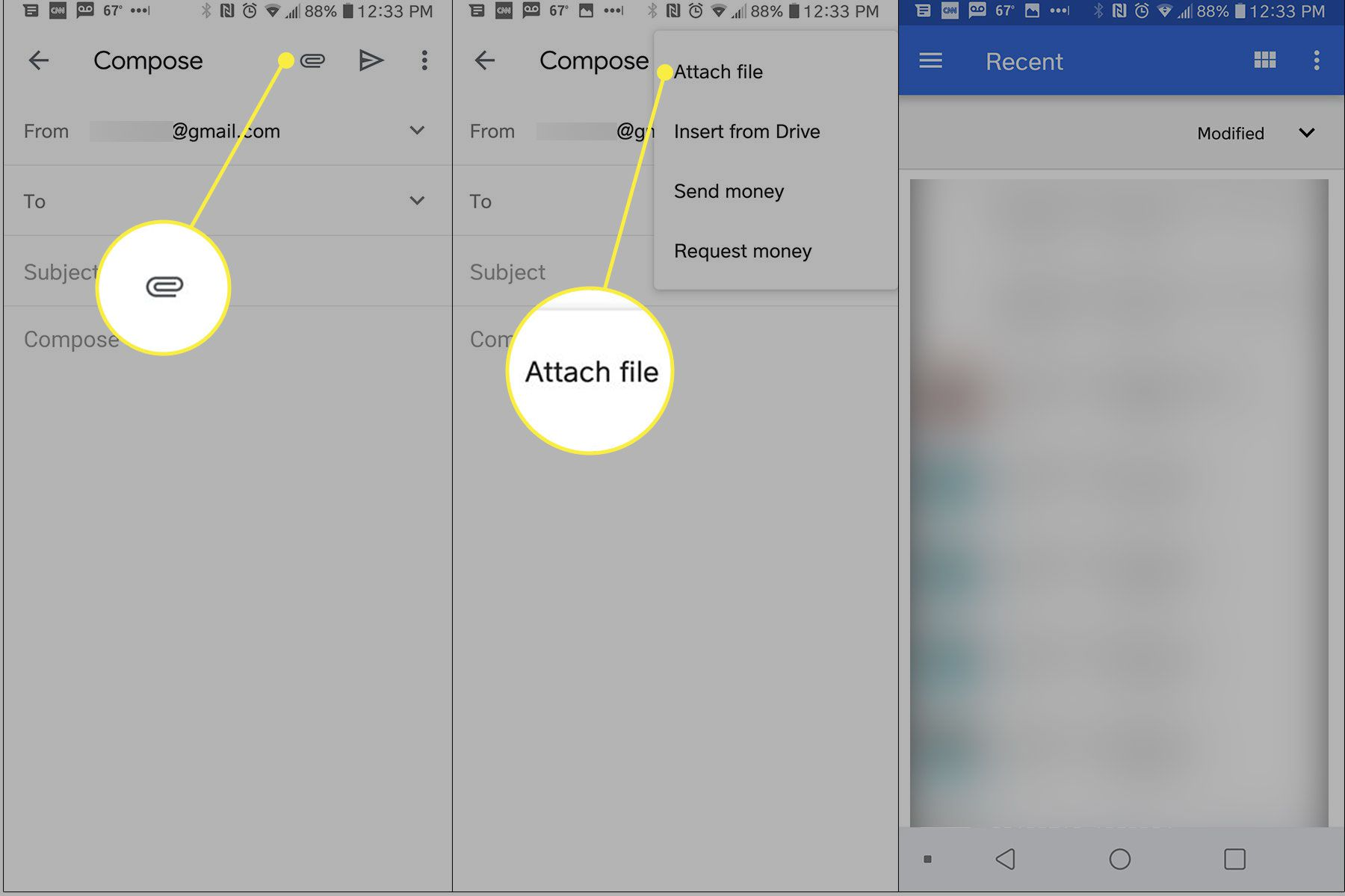 Screenshots of the Gmail app with the attachment and Attach File buttons highlighted