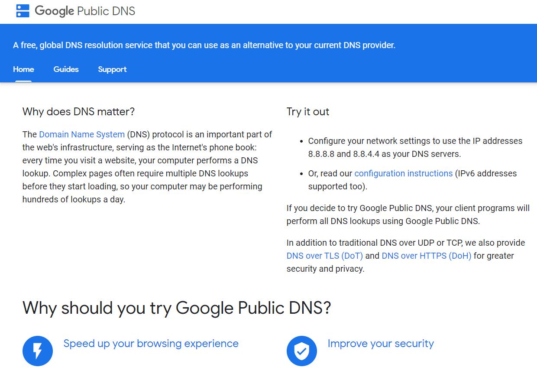 Google Public DNS website