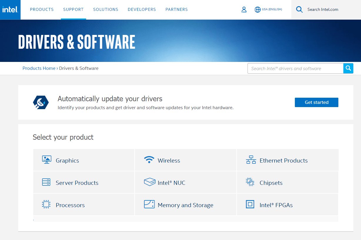 Intel Drivers and Software page