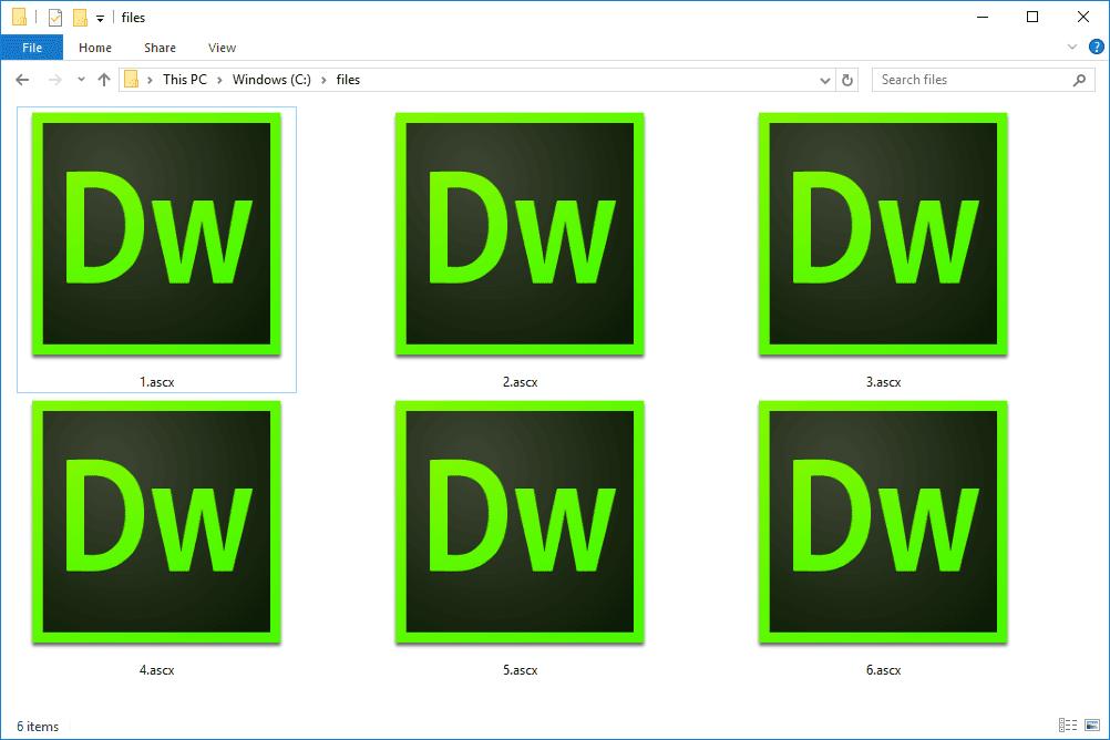 ASCX files in Windows 10 used with Adobe Dreamweaver