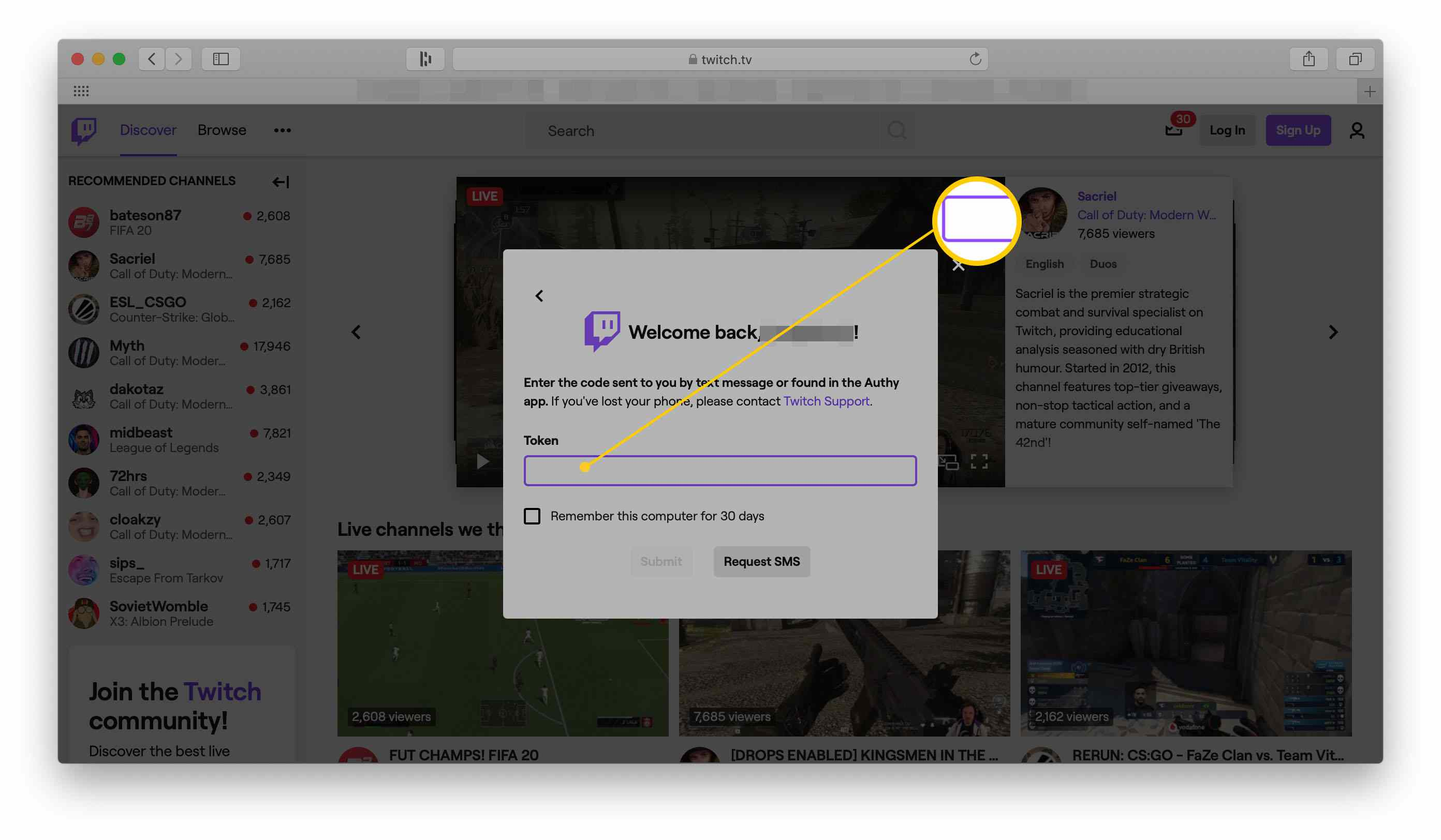 Where to enter your token key on the Twitch website once two-factor authentication has been enabled