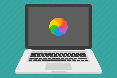 Spinning pinwheel of death on a laptop screen (illustration)