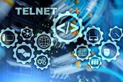 Teletype Network Protocol. Telnet Virtual terminal client. Internet and Network concept. Telnet.