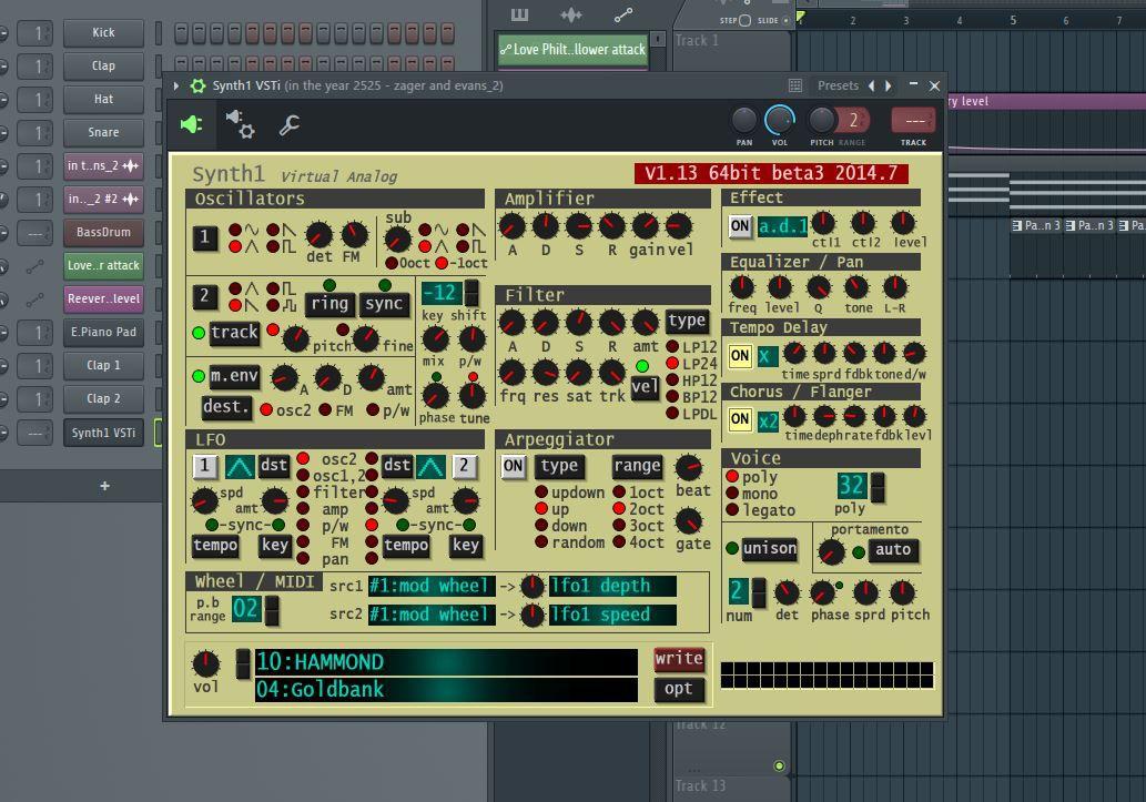 The Synth1 VSTi plugin.
