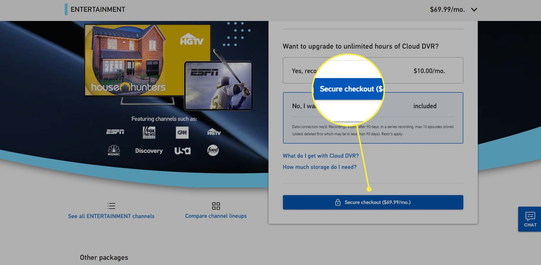 A DirecTV Stream customer buys a package