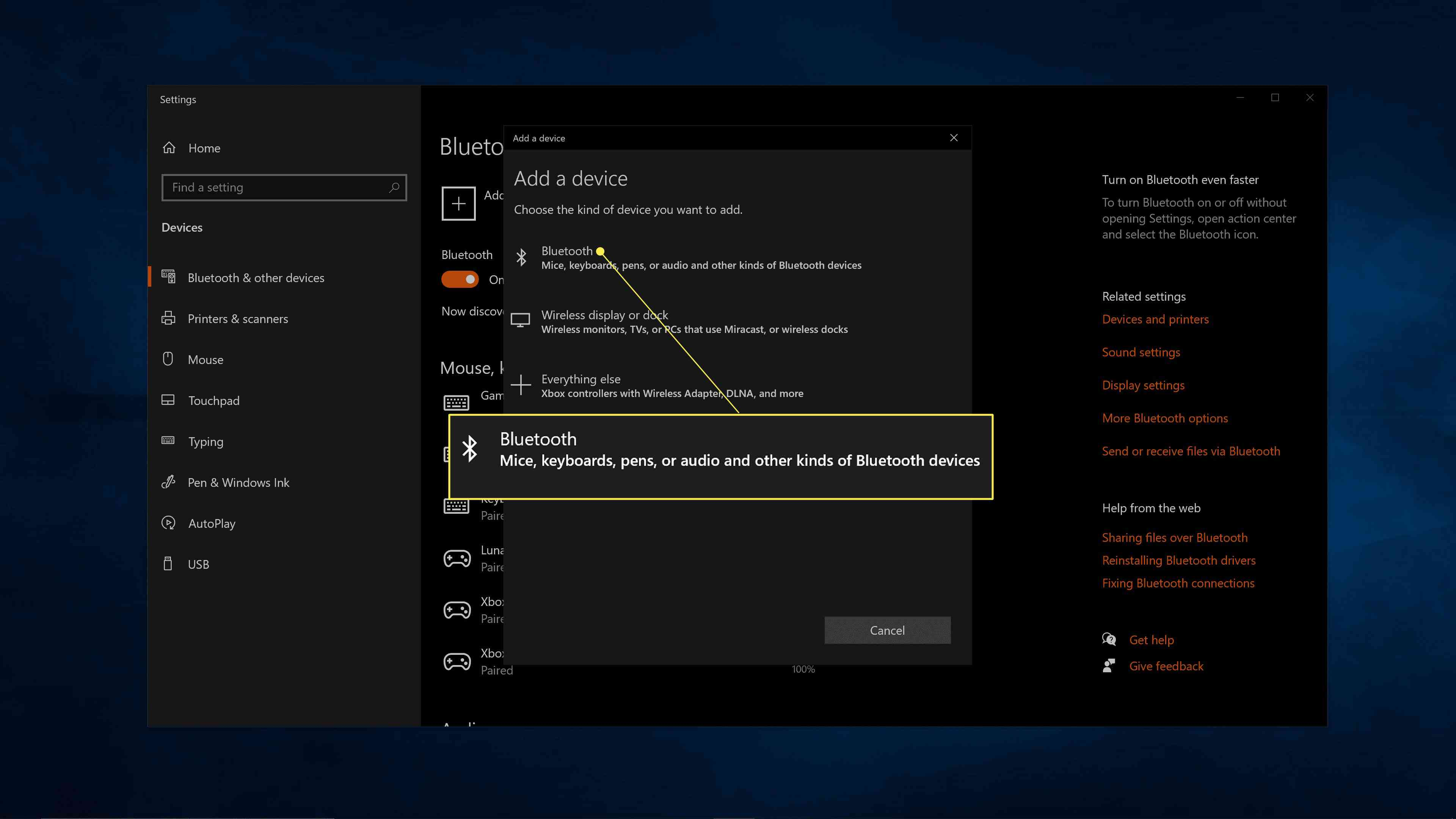 Bluetooth highlighted in the add a device menu in Windows 10.