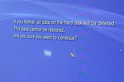 Select Yes to format the new PS3 hard drive.