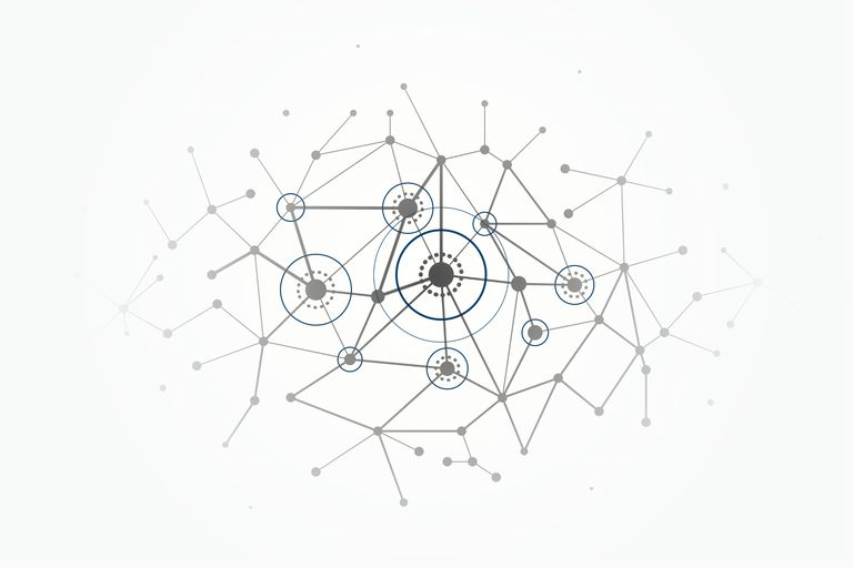 Network concept connections with lines, circles and dots - Illustration