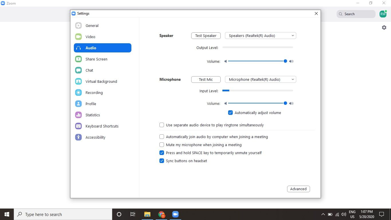 select the settings gear, then choose the Audio tab and select Advanced.