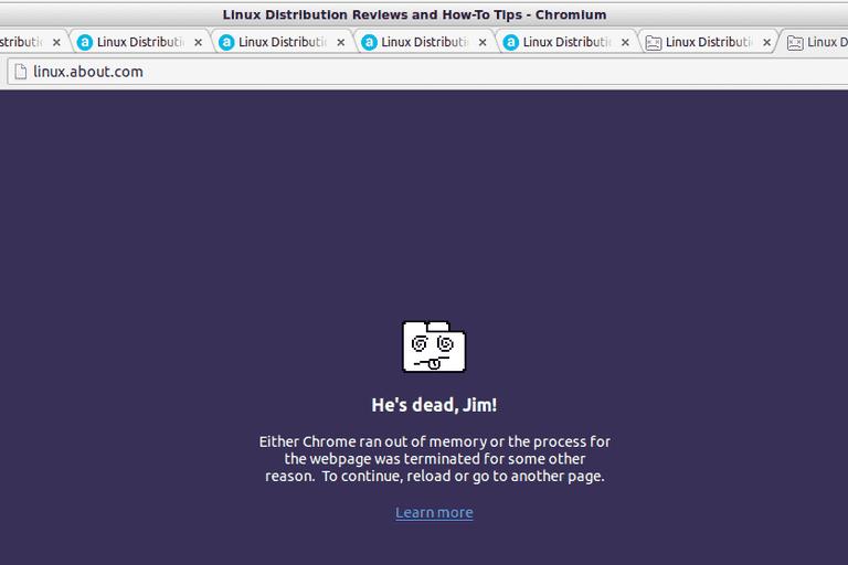 Chrome Out Of Memory screenshot