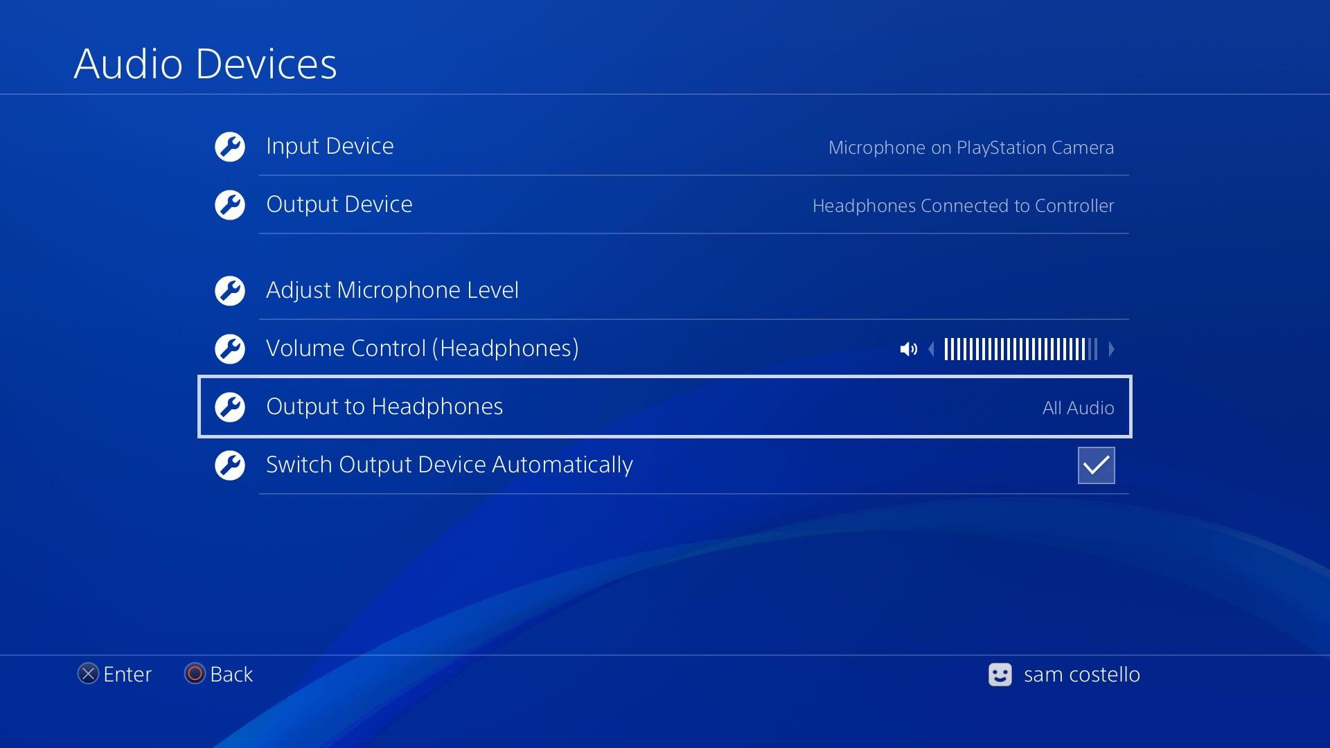 Screenshot of PS4 audio devices menu