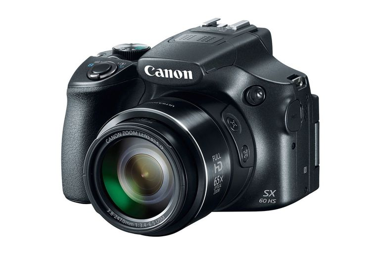 The Canon SX60 HS is a fixed lens camera with a large zoom lens.