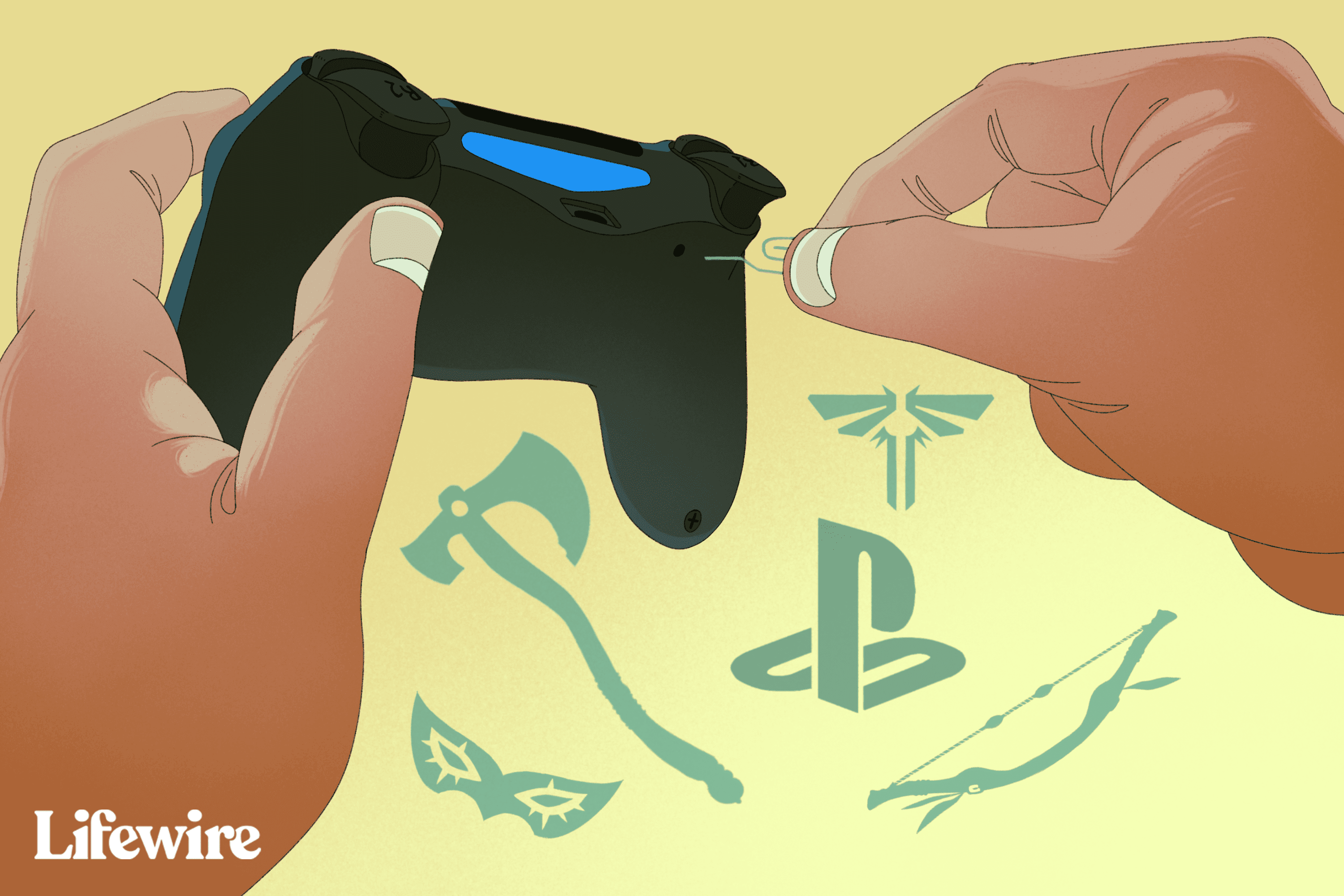 Person resetting a PlayStation 4 controller with a paperclip