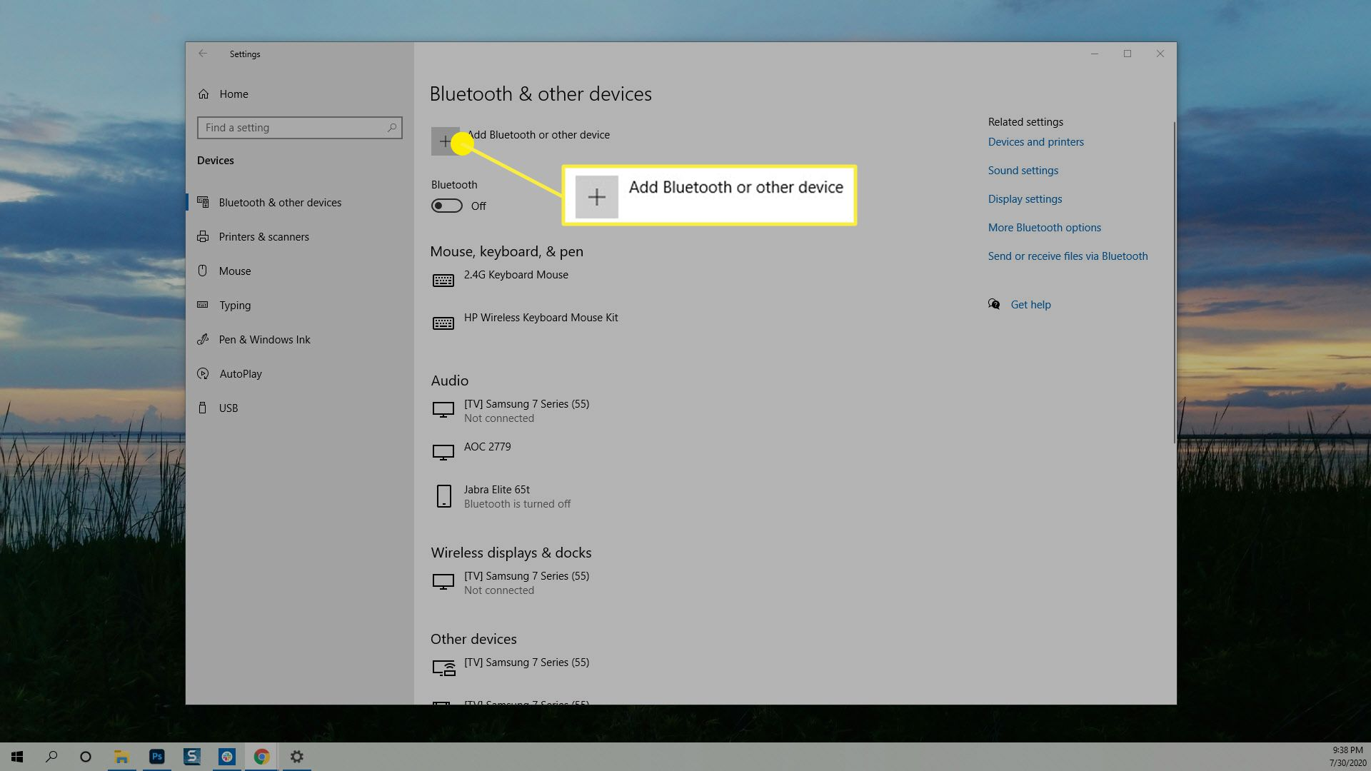 The Add Bluetooth or other device option in Windows Bluetooth & other devices.
