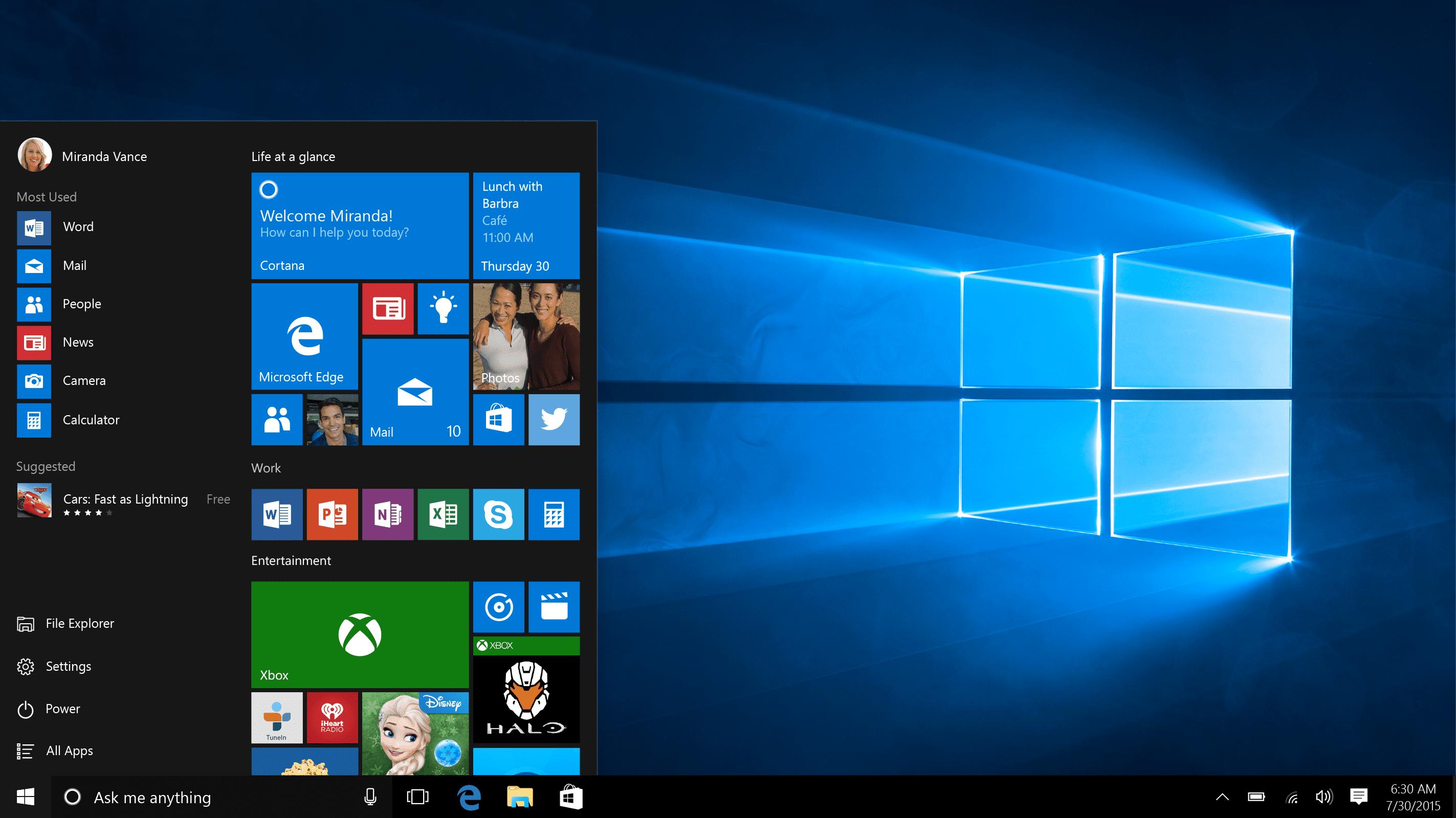 The Windows 10 desktop