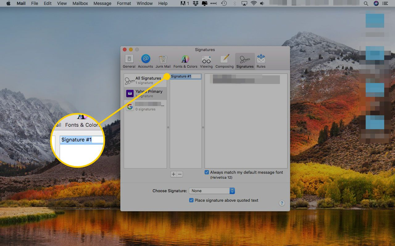 The Apple Mail Signatures preferences window with the signature name field highlighted