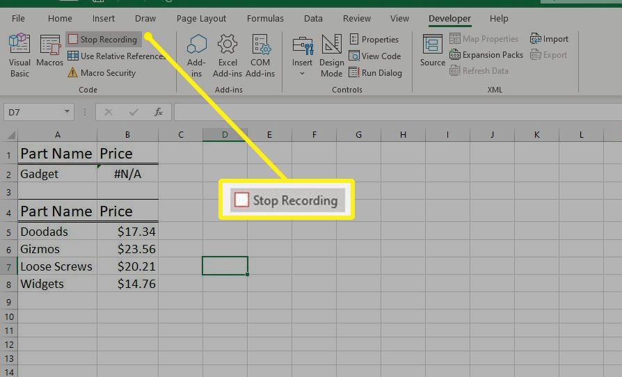 Stop Recording button in Excel