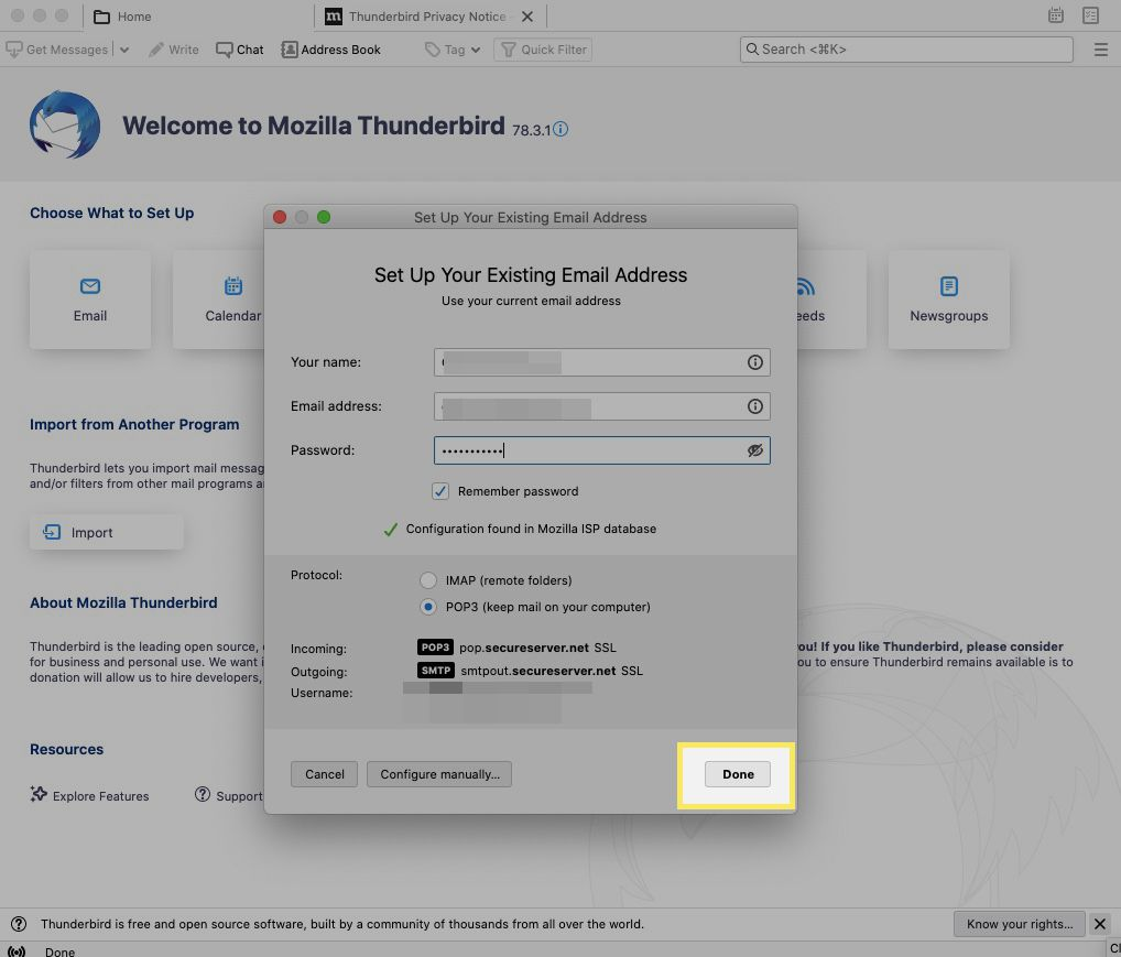 Thunderbird automatically configures your account. Select Done.
