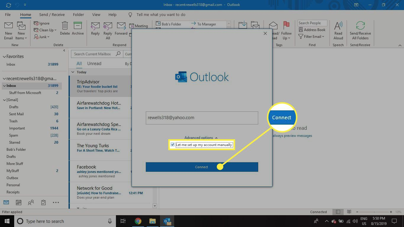 A screenshot of Outlook's Add Account screen with the manual option and connect button highlighted