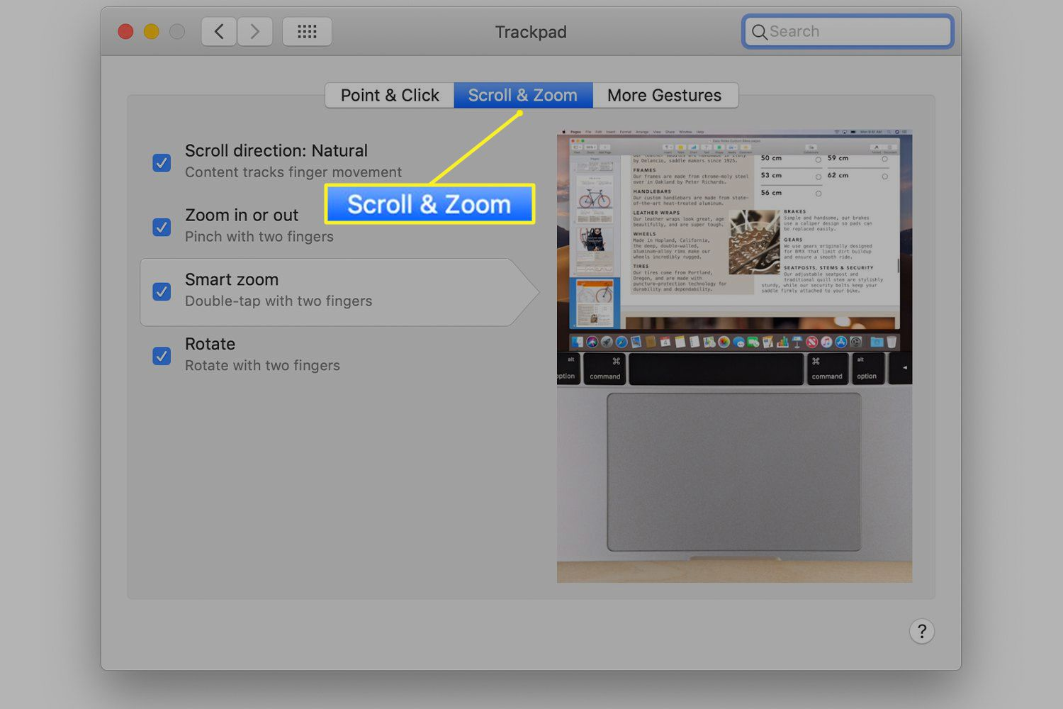 Trackpad preferences with Scroll & Zoom tab selected