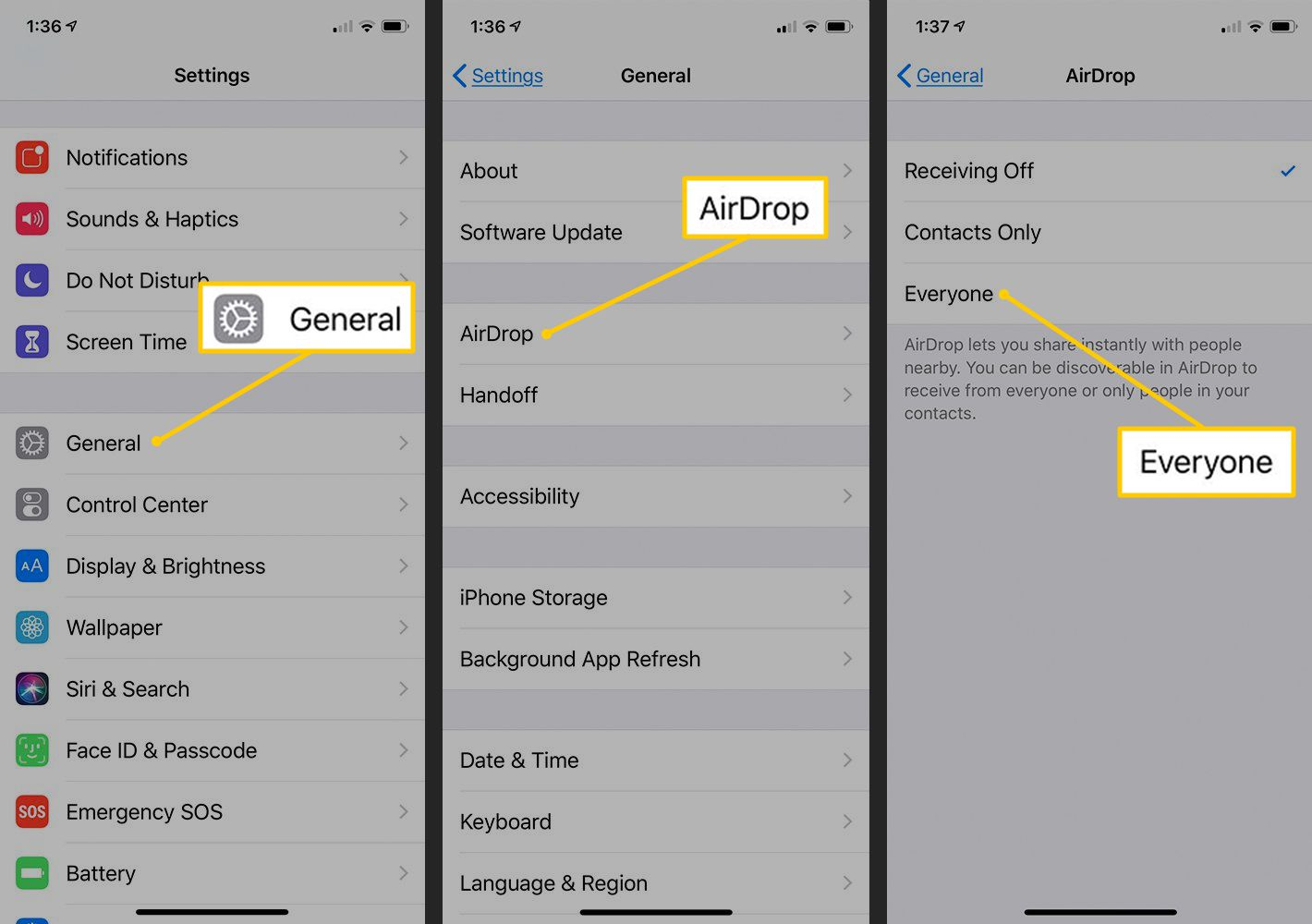 General, AirDrop, Everyone options in iOS Settings