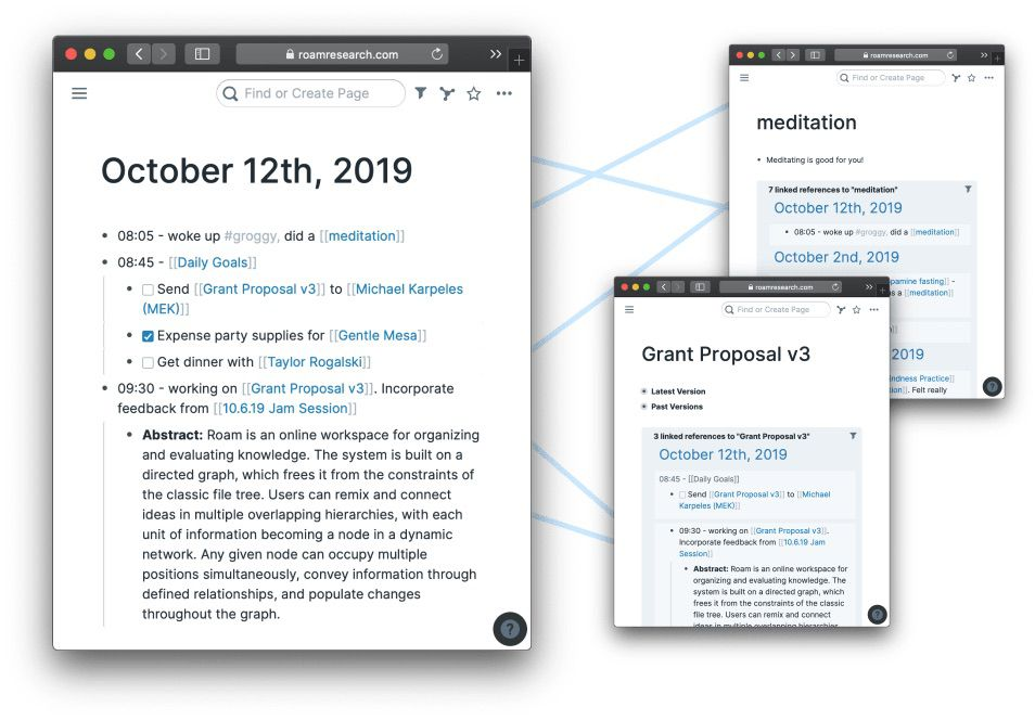 Roam Research note pages