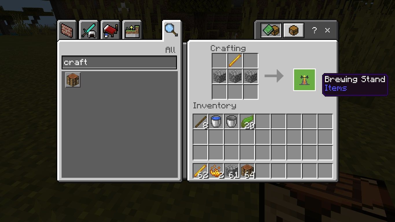 Craft a brewing stand with a Blaze Rod in the middle of the top row and three Cobblestones in the second row.