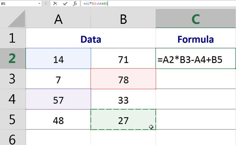Use point and click to build formulas in Excel