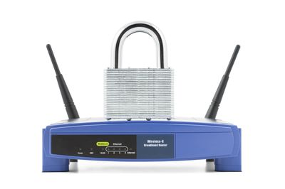 Wireless router with padlock on top of it